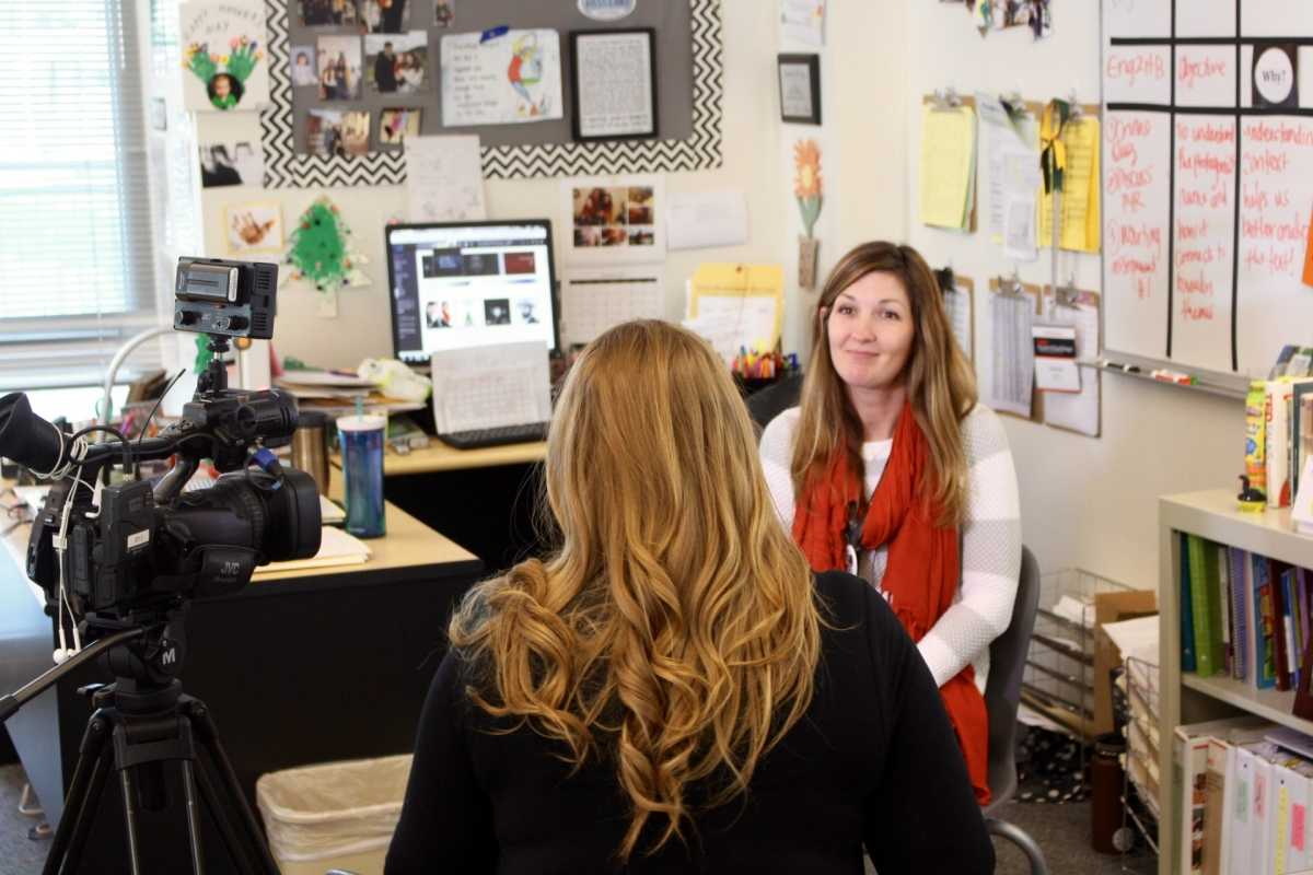 Mrs. Myers during her interview with Jenny Day from The CW.