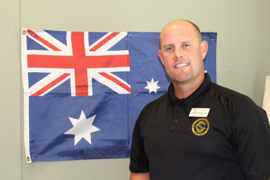 Jesse Schuveiller keeps a flag of his home country, Australia, up to remind him of where he came from.