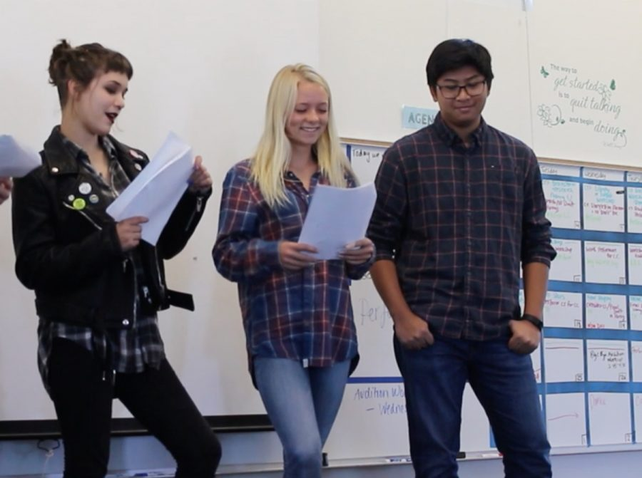 Ashley Chandler in theatre class with her fellow classmates.