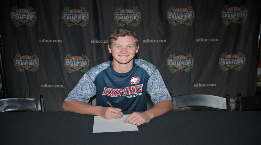 Sports Editor, Drake Benner signs his contract to make it official with Dixie State.