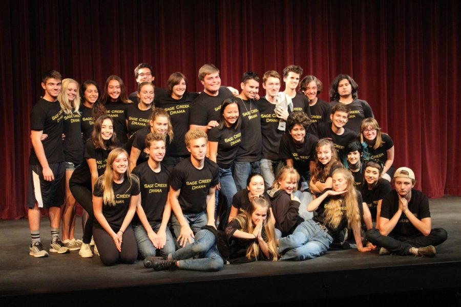 Photographer: Elena Trask Most of Theatre 3's class pose for a group photo after a night of performances.