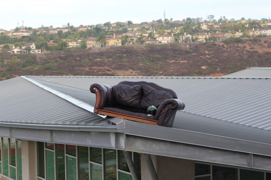 One of the couches on top of the gym