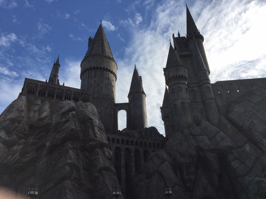 Hogwarts paints the sky with its majestic construction.