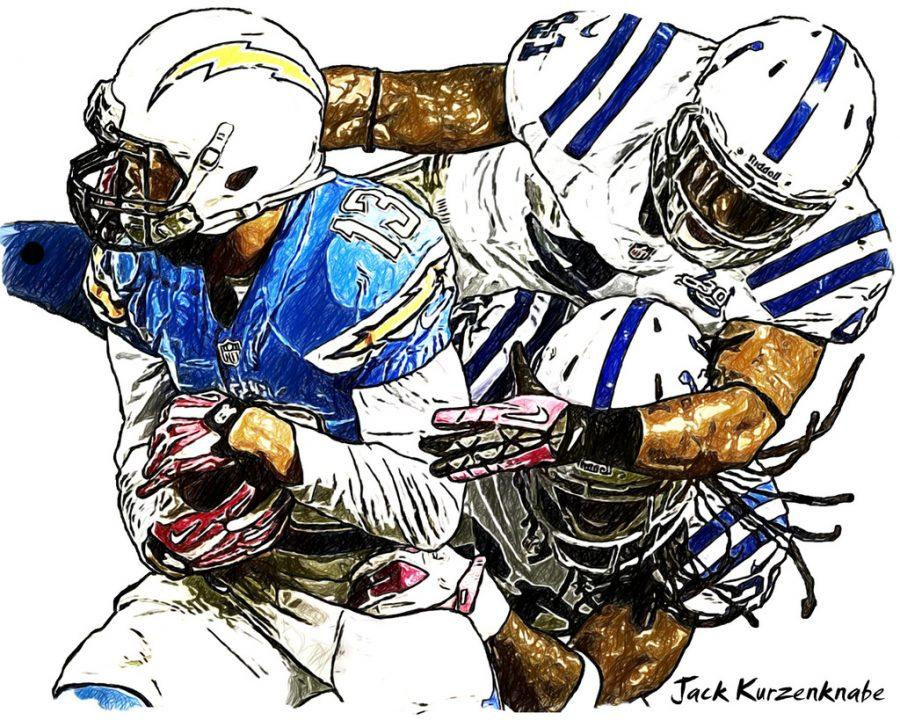 Chargers' fourth year wide receiver Keenan Allen breaking a tackle against the Indianapolis Colts.