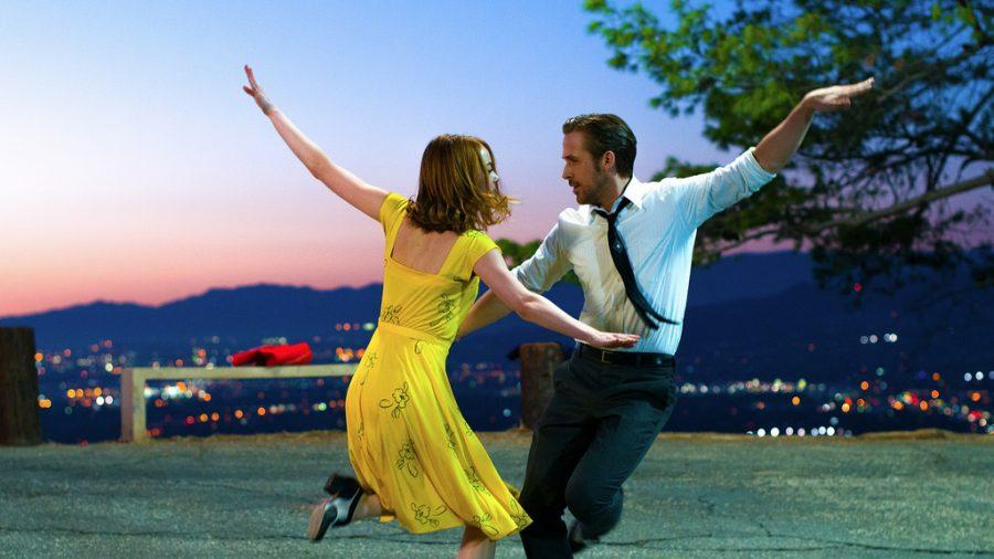 Ryan Gosling and Emma Stone dancing in film, La La Land.
