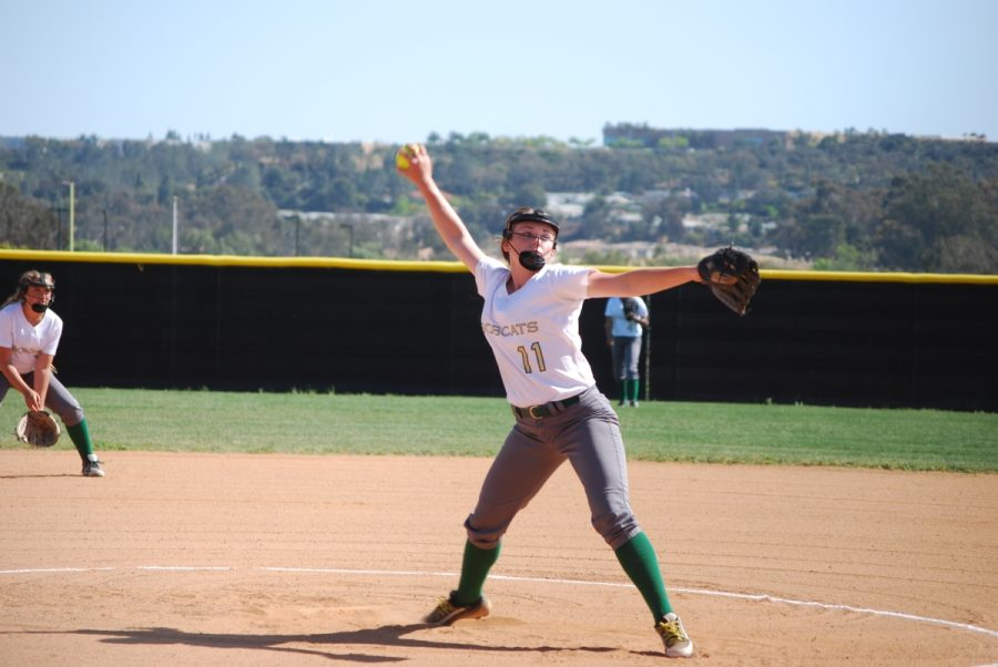 Stephanie Milam pitches at a home game for Sage Creek