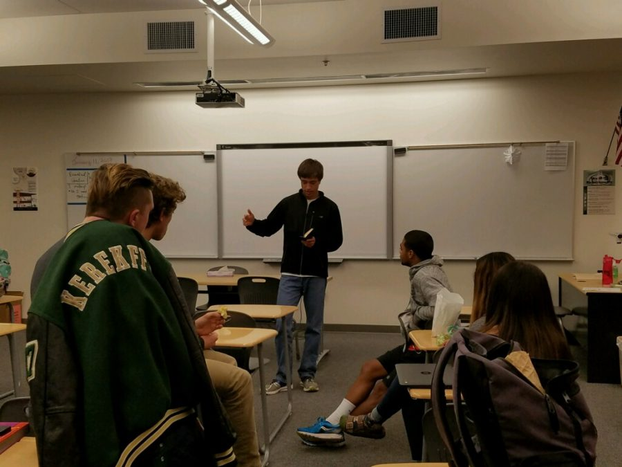 President, James Melkonian, leads biblical a discussion for his club, Fellowship of Christian Athletes.