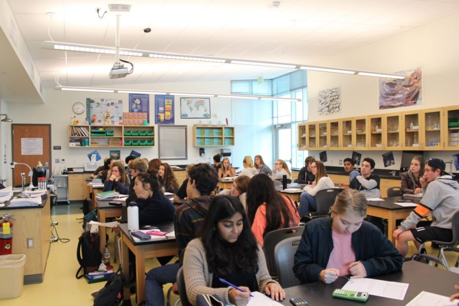 AP Biology class studying for their upcoming test.