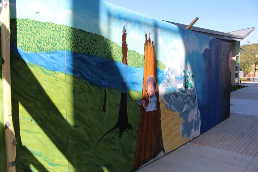 Along the front of the campus near the 5000 building, the Arts programs have decorated a beautiful wall.