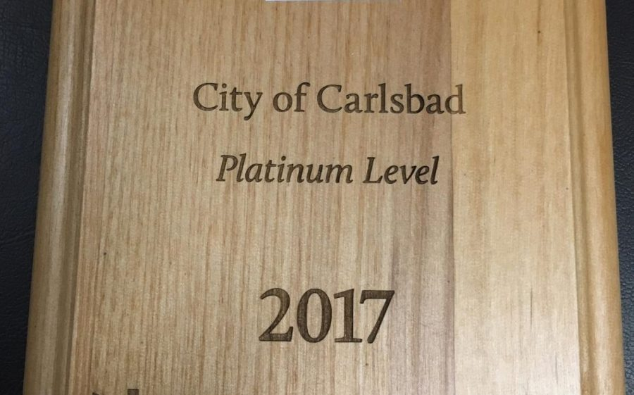 The Beacon Spotlight Award plaque that was presented to the City of Carlsbad on Sept. 15th and is now on display at City Hall.