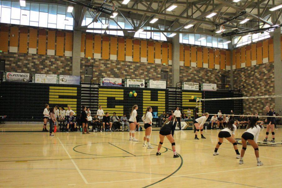 Athletes await the serve.