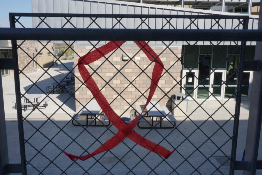One of the Many Red Ribbons that can be found amongst Sage Creek's campus