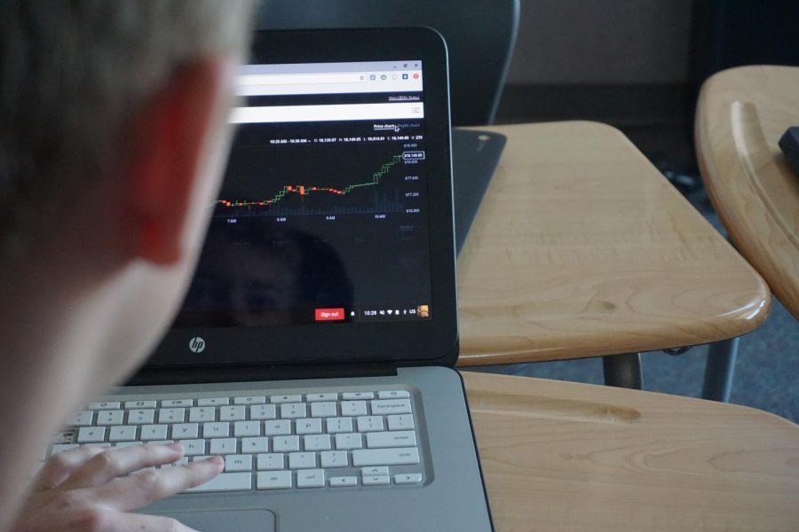 Student watches the price of bitcoin jump during a single class period.