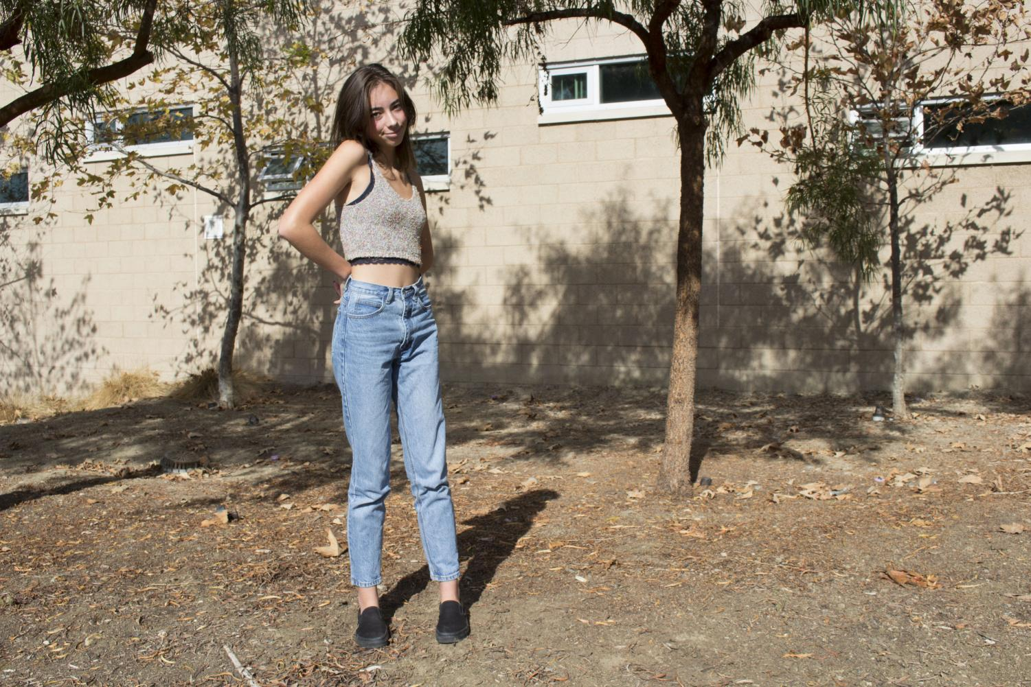 Junior+Karlee+Silva+wears+a+cropped+knitted+tank+with+high+waisted+boyfriend+jeans+and+black+slip+ons.+She+states+that%2C+%22you+should+dress+for+yourself+and+not+to+impress+anyone+else.%22