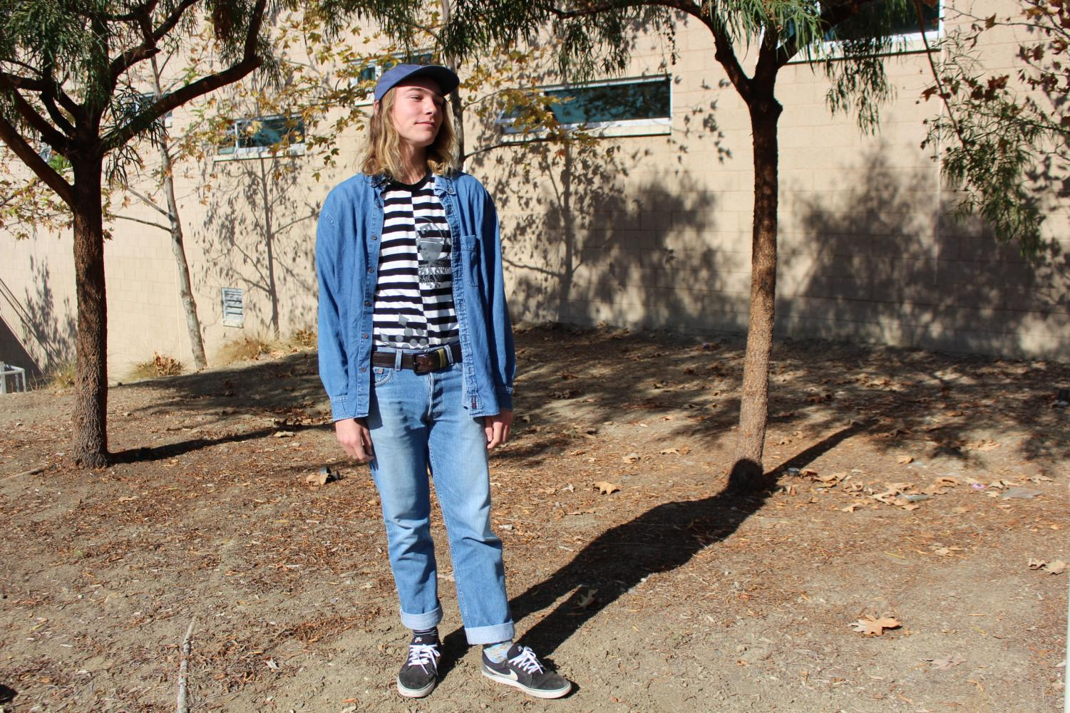 Junior+Sasha+Lukas+effortlessly+matches+three+denim+items.+Lukas+finds+his+favorite+pieces+among+Instagram+stores%2C+Depop%2C+and+thrift+stores.+He+believes+people+should+wear+whatever+they+want.