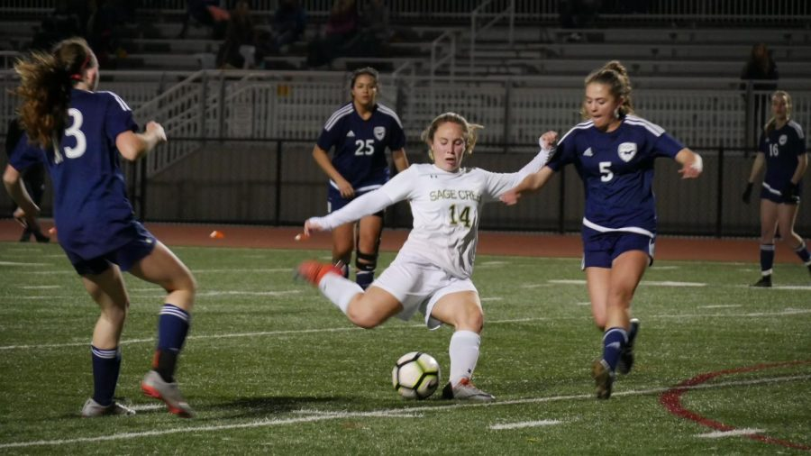 Silje Vigeland passes the ball down the field to the rest of the team.