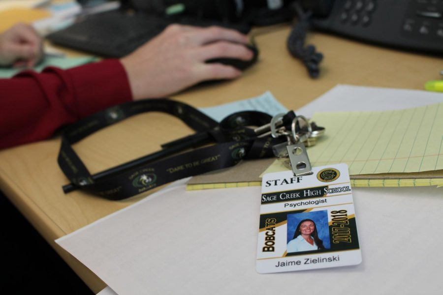 Jaime Zielinski works at her desk as Sage Creek's school psychologist for the 2017-2018 school year. She currently works across from the counselors in the office.