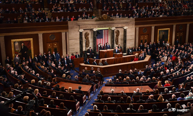 The House of Representatives chamber of the Capitol building during the State of the Union address. Democrats occupy the left side from the camera's perspective, and Republicans occupy the right. Courtesy of AP images and the U.S. Embassy at Uruguay website.
