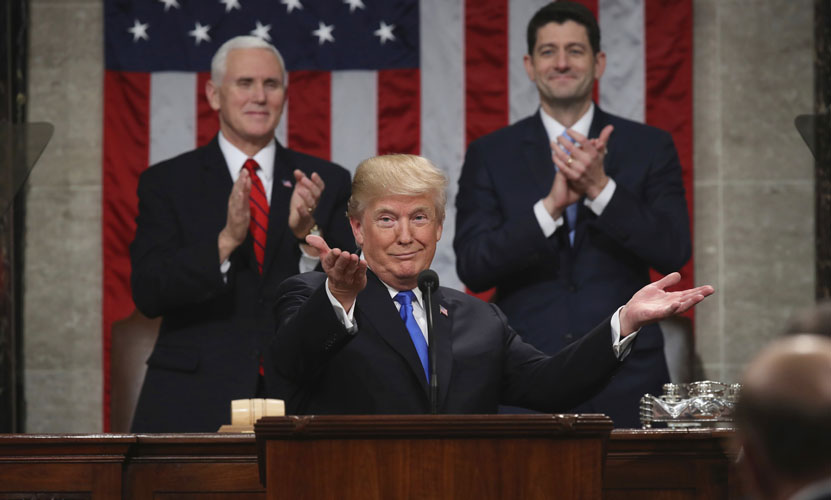 President Trump gestures slightly in the direction of the Democrats, possibly to elicit a response from a quiet crowd. Courtesy of the U.S. embassy at Estonia website.