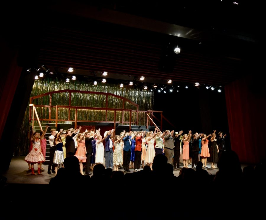The whole cast thanking all those that helped make the show a success during the finale of opening night!
