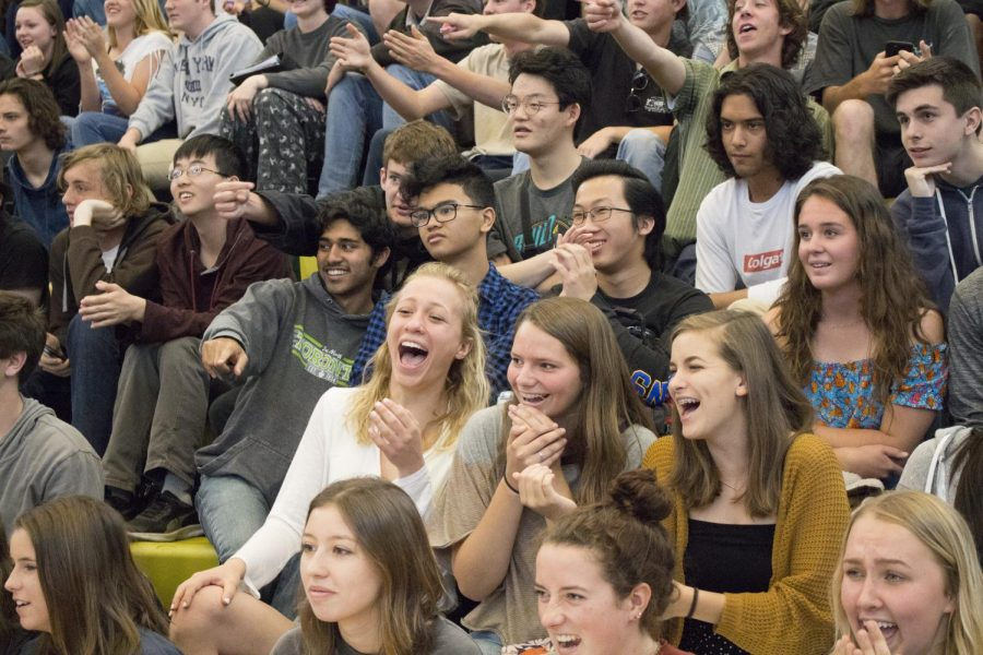 The student body cheers on and laughs at their fellow classmates as they participate in the last class cup competition of the year.