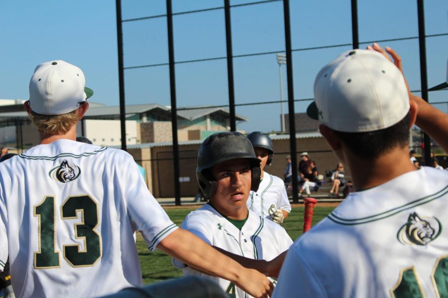 Junior Jake Gutierrez runs into the dugout, cheered on by his teammates after scoring a run. Sage Creek ended up defeating Carlsbad 6-3 after a hard fought game.