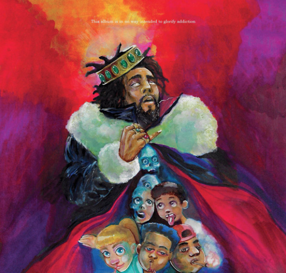 "Album cover for ""KOD"", shows a very dreamy picture of multiple kids doing different drugs such as smoking marijuana, snorting cocaine, and taking pills. All of this is the general theme of the album, and what J. Cole is advocating against."