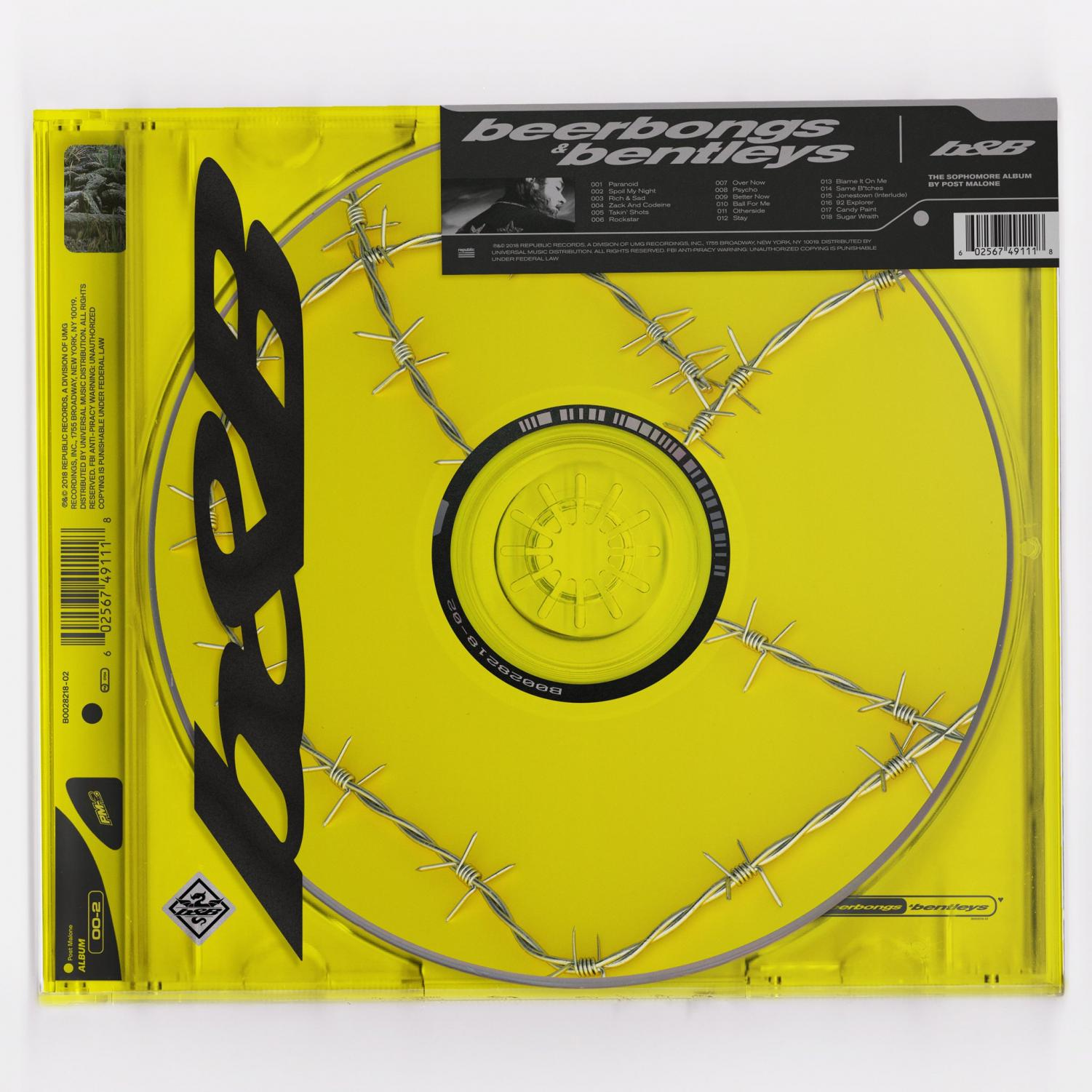 "The cover for ""beerbongs and bentleys"" is likely inspired by Kanye West's album ""Yeezus,"" of a picture of a CD. It has barbed wire wrapped around it with a yellow background, similar to the marketing style of this album."