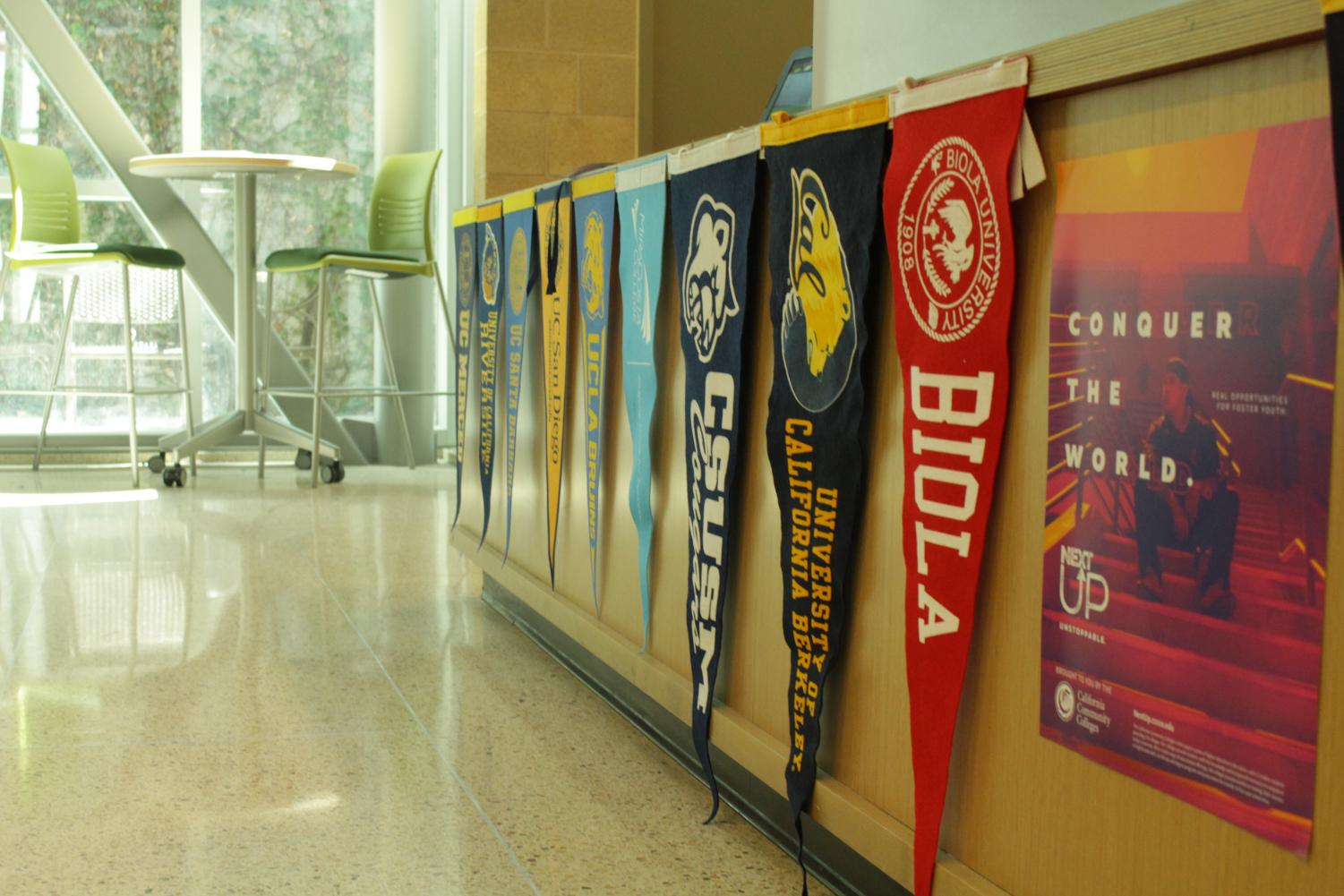 The counseling office proudly hangs the pennants of possible colleges. Sage Creek faculty encouraged students to apply to UC's as well as private universities.