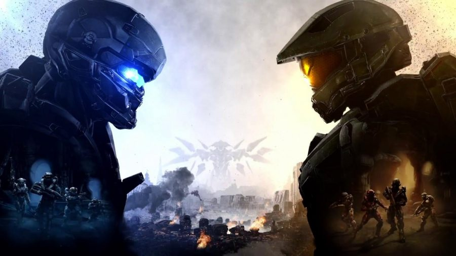 Spartan Locke(left) and Master Chief(right) look each other in the eyes overseeing a battlefield with their respective fireteams on each side. The staring suggests tensions between the two which ultimately lead to a battle between Locke and Chief near the end of ¨Halo 5: Guardians.¨