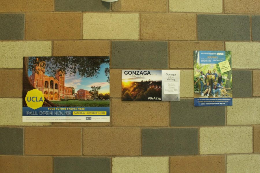Advertisements for popular universities like UCLA and Gonzaga University decorate the walls of the counseling office. Students entered the counseling office during lunch last week to attend one of several admissions presentations happening throughout the fall.
