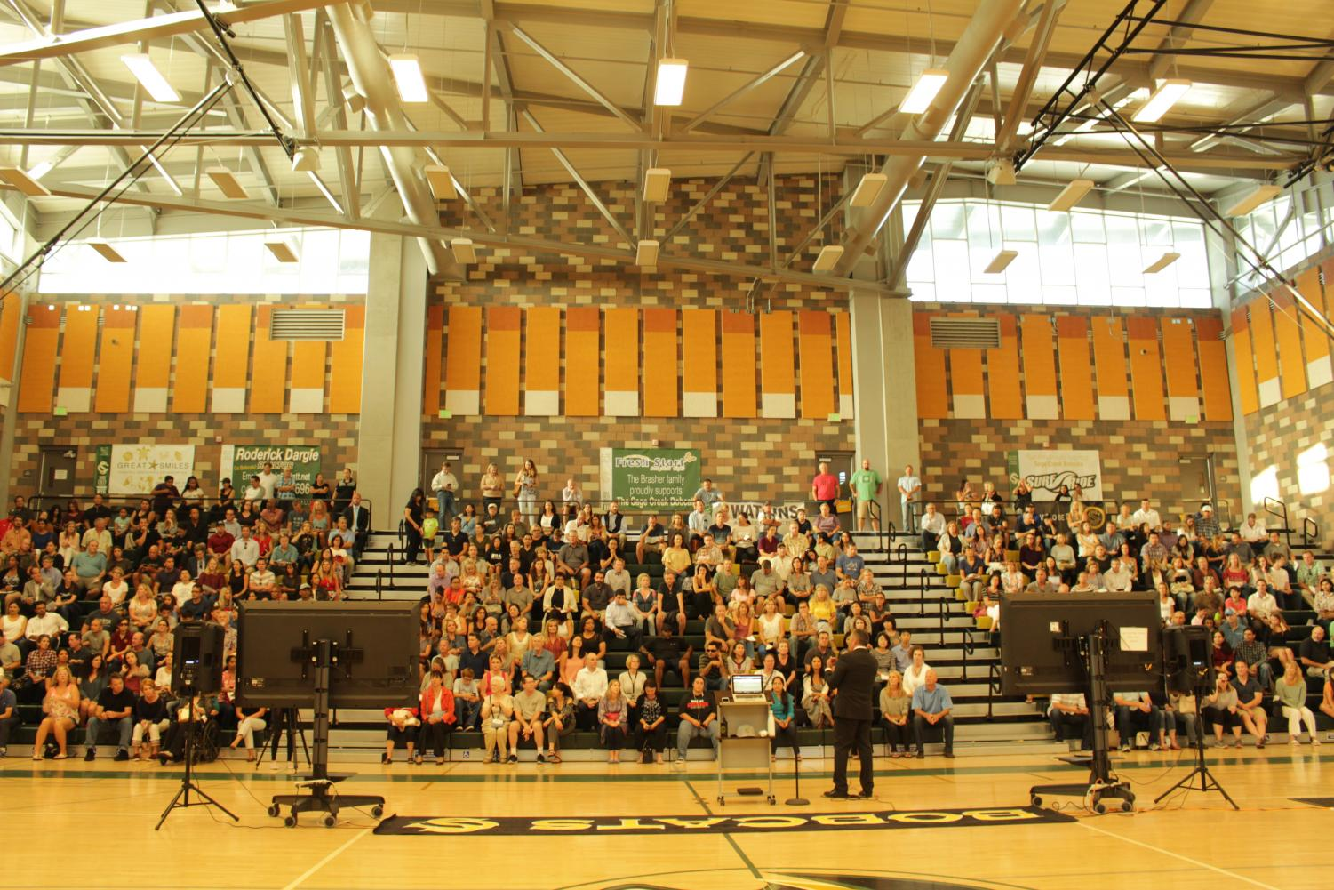 Principal+Morales+addressed+the+new+and+returning+parents+of+our+Sage+Creek+student+population+during+Back+to+School+Night+on+Tuesday.+The+assembly+of+parents+was+followed+by+a+mock+school+day+in+which+parents+visited+their+student%E2%80%99s+teachers+and+were+informed+of+syllabi+and+classroom+expectations+