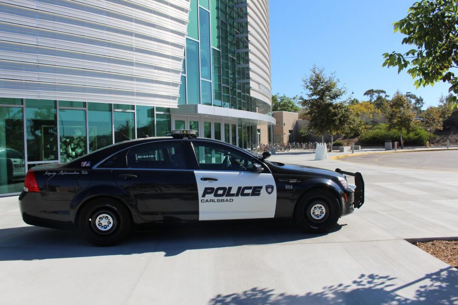 Sage Creek's Officer Valentine's police car parked in front of the new PAC. This is Officer Valentine's first year at Sage Creek and he hopes he can do whatever he can to protect the campus.