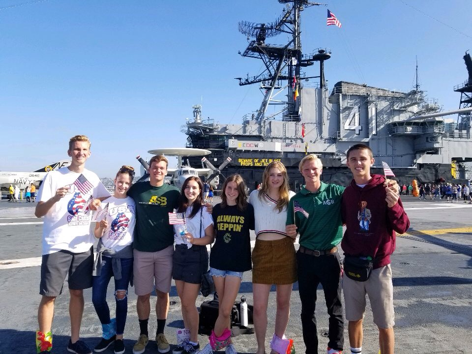 ASB+students+representing+Sage+Creek+on+the+Midway+Museum+in+downtown+San+Diego+this+past+Saturday+morning.+The+Midway+Museum+held+a+gathering+in+order+to+form+a+heart+on+the+vessel+of+the+ship+in+honor+of+our+Nation%E2%80%99s+service+men+and+women.+