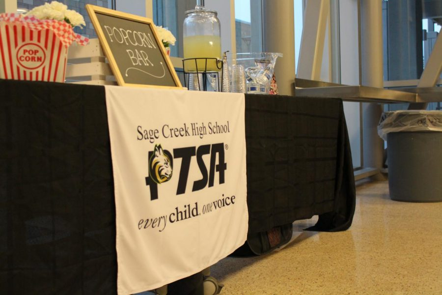The PTSA's popcorn bar takes center stage at Churchill's visit. Members of the PTSA worked hard to make sure that all audience members were as comfortable as possible at this PTSA-funded event.