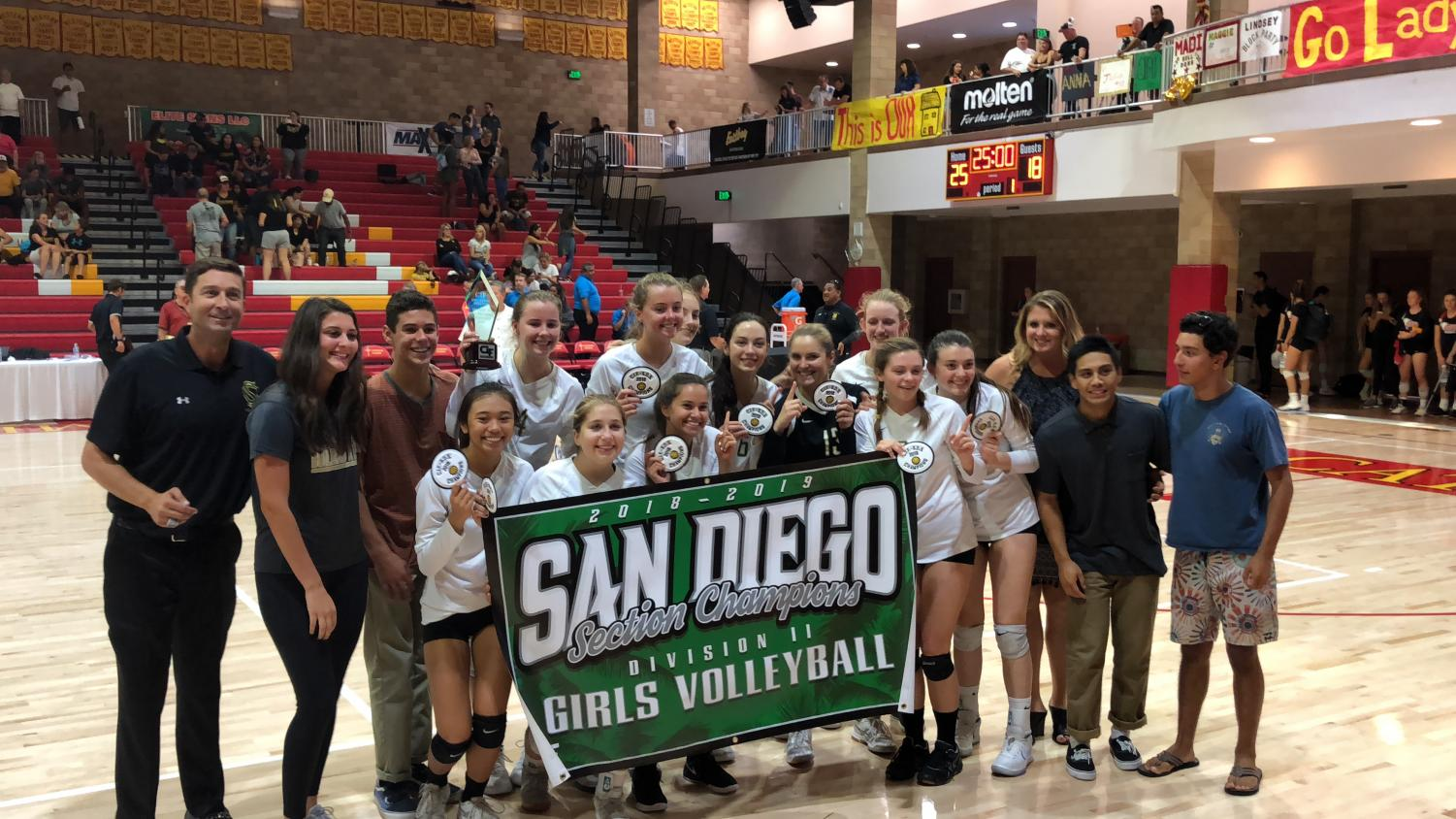 Volleyball holds up their CIF D2 banner. The Bobcats savored this moment but went right into preparing for State.