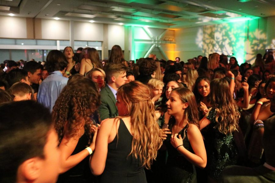 Students completely packed on the dance floor at the