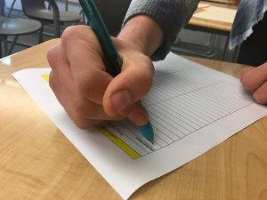 A Sage Creek student signs into lunch detention in Ms.Brown's room. Detention has been used as the primary means of discipline in many schools across the country for decades.