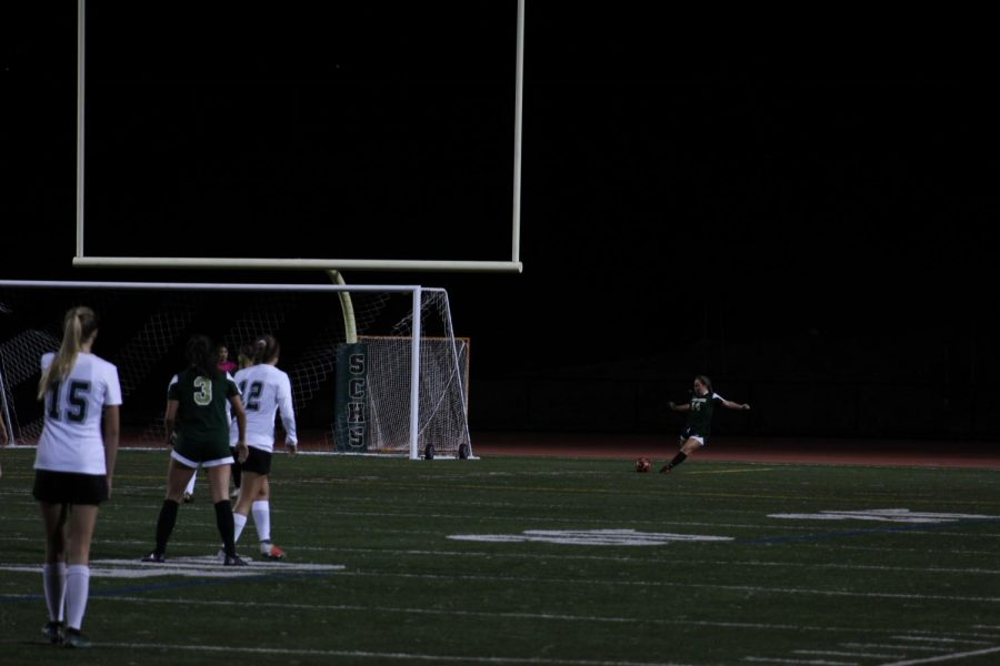 Sage Creek's Silje Vigeland prepares to receive a goal kick to keep away the offense of the opponents. As varsity players keep control of the ball, they pass it up the field to the strikers for an opportunity to score a goal.