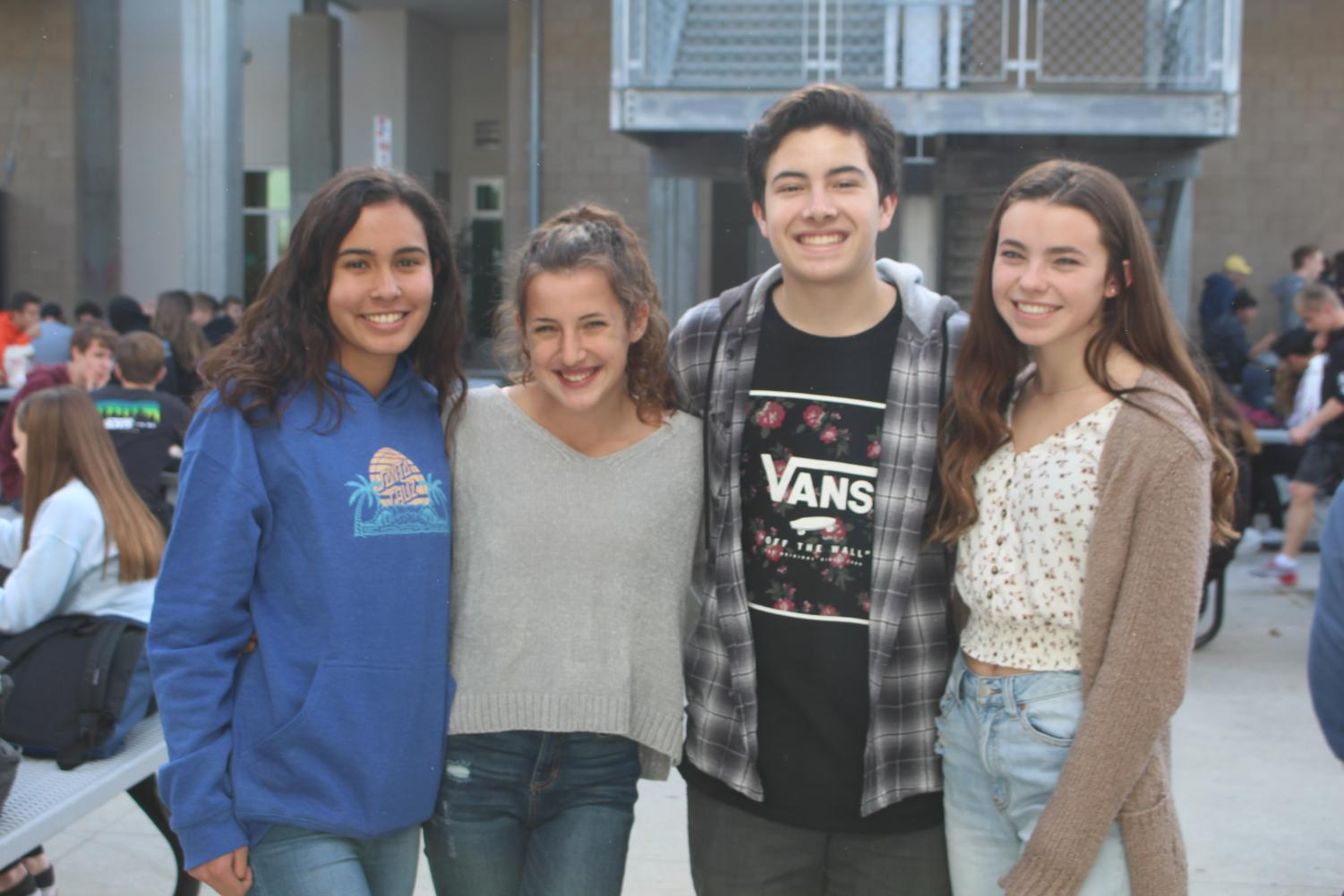 Sophomores Paola Gonzalez, Maya Grudman, Nolan Mejia, and Madison Blankenhorn are pictured smiling. Each one plays an important role to help represent their sophomore class.