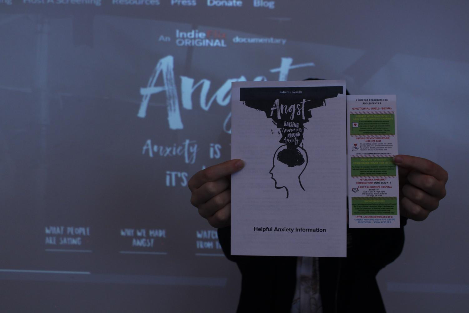 """""""Angst"""" is a documentary covering anxiety in high school students and was broadcasted in every advisory class this past Wednesday. With the film being shown, students were given complimentary pamphlets covering the main topics that were discussed throughout the video."""