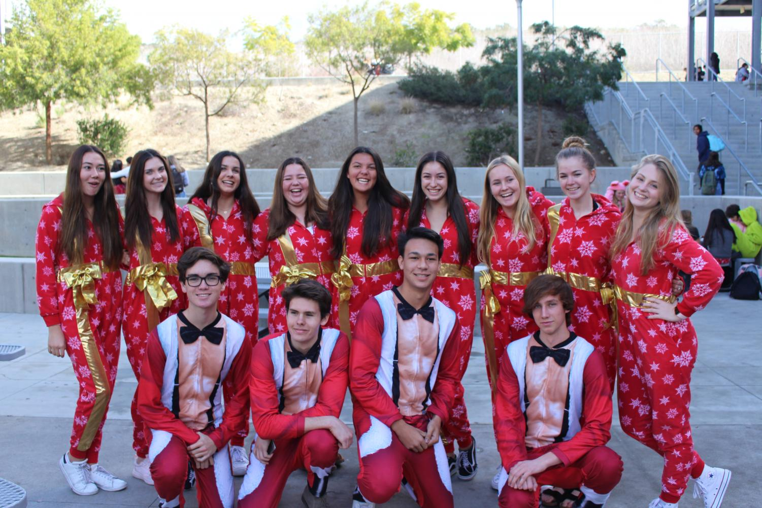 A+group+of+seniors+pose+for+a+picture+wearing+matching+pajamas.+Monday+was+pajama+day+and+the+first+day+of+Sage+Creek%E2%80%99s+spirit+week.+