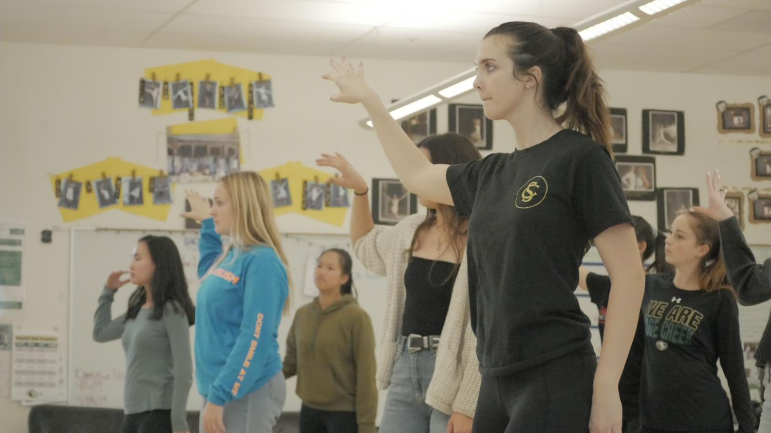 Senior Sydnee Kerekffy choreographs a new song for the Dance Company. The company will be performing during halftime at basketball games and they have a show scheduled for the spring trimester.