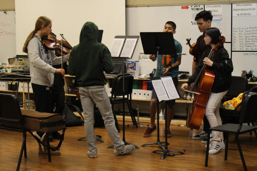 Orchestra rehearses for their upcoming concert. The performance will be on Thursday, Feb. 28 in the Performing Arts Center.