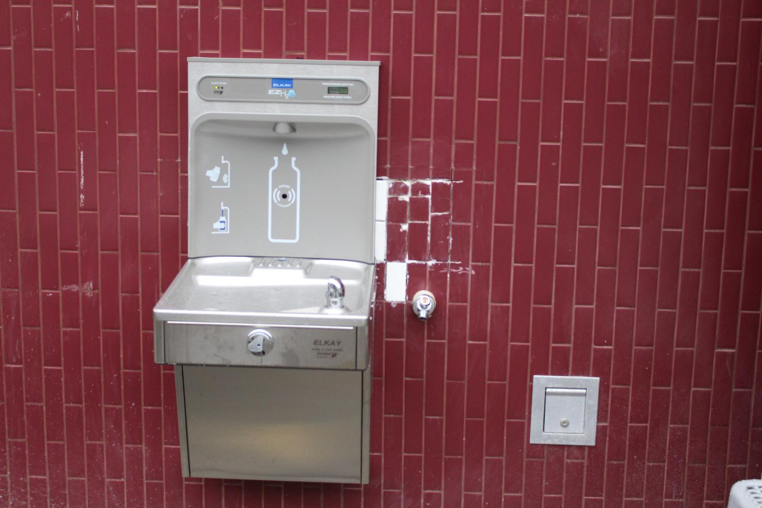 The new water filling station is located on the side of the 2000 building facing the 1000 building. It was funded by the PTSA, the school district and the Environmental Science Club.