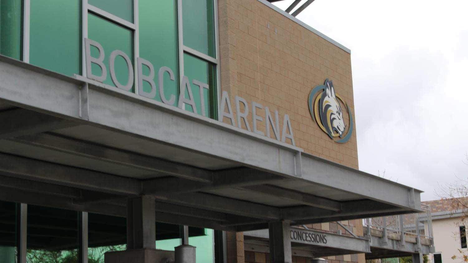 An empty entrance to the Bobcat Arena marking the end of another basketball season.