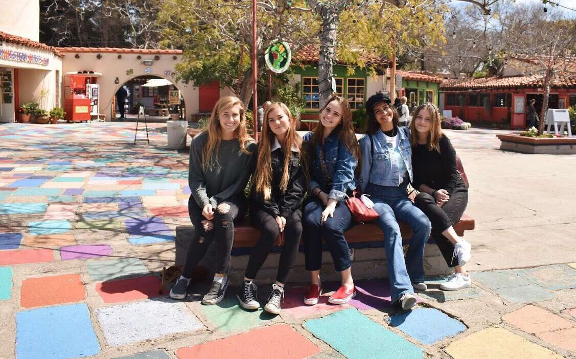 Art+classes+in+trimester+three+took+a+field+trip+to+Balboa+Park+on+Tuesday+to+take+a+closer+look+at+art.+Seniors+Ana+Kirkpatrick%2C+Grace+Elmore%2C+Amber+Keller%2C+Sammie+Amezcua+and+Jordyn+Zurek+were+inspired+by+the+beautiful+scenery+to+be+more+creative+with+their+art.+
