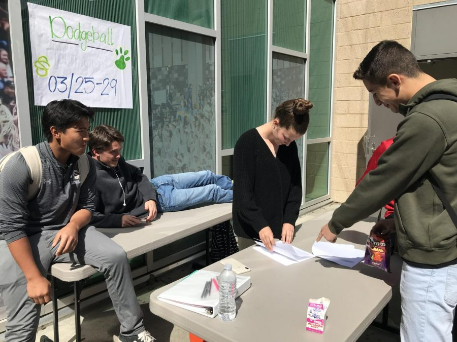 Junior Miguel Rojas turns in his team's dodge ball sign-up sheet during lunch. Through March 11- 15, ASB had student sign-ups at lunch for their annual dodge ball tournament that will be held March 25-29.