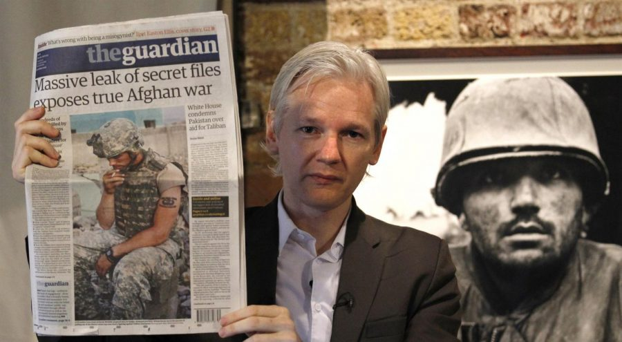 This image of Assange from 2010 shows a front page story on the release of the Afghan war documents. It was considered the largest release of US military intelligence at the time.