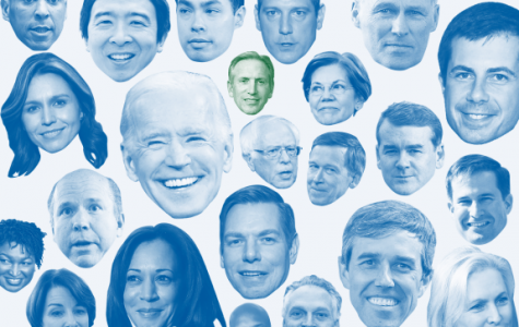 A snapshot of the current Democratic candidates. This graphic also provides insight into the popular candidates based on the size of their photograph.